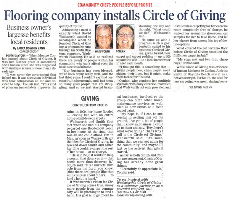 Wadsworth Flooring.  Flooring company installs Circle of giving.